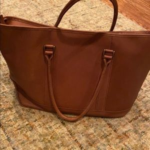 L.L.Bean Vintage Cognac Brown Leather Work Tote